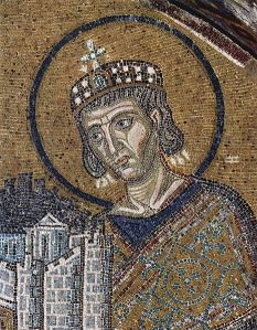 Mosaic of Emperor Justinian with a model of the Hagia Sophia which he had rebuilt after it burned in the Nika Riots. By Byzantine mosaicist, ca. 1000 [Public domain], via Wikimedia Commons
