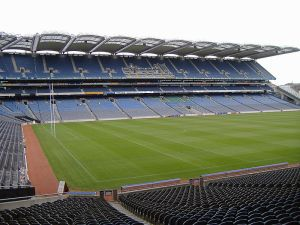Croke Park in Dublin, Ireland, host to Gaelic football, hurling, rugby, and occasionally American football.