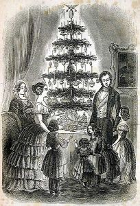 Queen Victorian and Prince Albert gathered with their family around the Christmas tree.