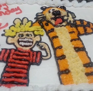 My seven-year-old philosopher's last birthday cake, in which Calvin & Hobbes look a little bit like jerks.