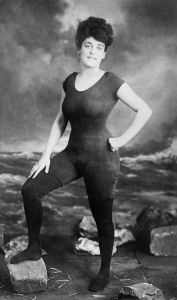 Annette Kellerman in her shocking swimwear, with stockings, for decency's sake because this is a family friendly blog after all.  Public Domain