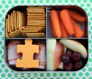 Okay, maybe not THAT creative. photo credit: Lunchbots bento for 5th grade boy - puzzle cheese for autism via photopin (license)