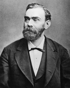 Alfred Nobel, who invented dynamite, and did NOT die on April 12, 1888. Public Domain, via Wikimedia Commons