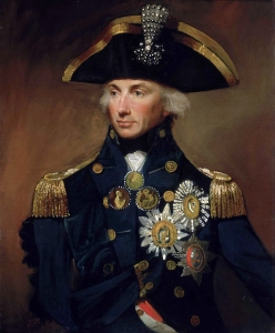 Admiral Nelson had previously lost his right arm in battle. It is not clear in which liquor barrel it was stashed. Oil on canvas by Lemuel Francis Abbott [Public domain], via Wikimedia Commons