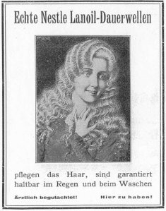 Turn of the century ad for Nessler's Permanent Wave Process. rough translation :